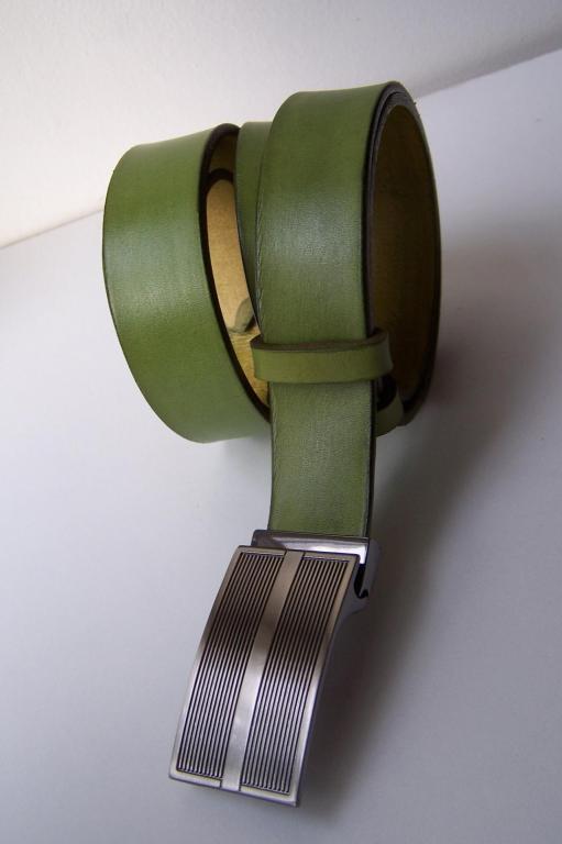 ceinture verte  cuir tannage végétal