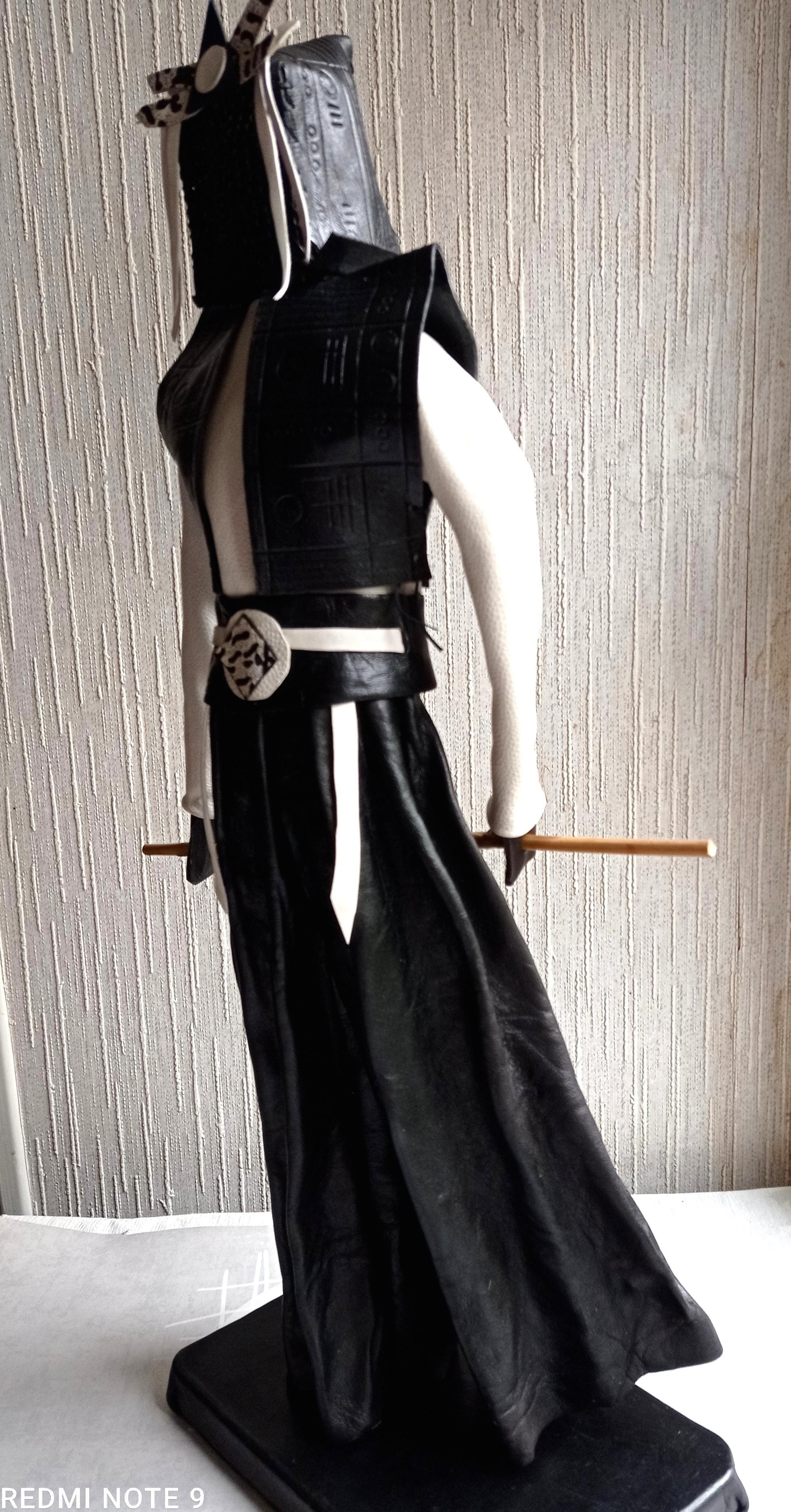 Samouraï  CUIR Blanc Noir