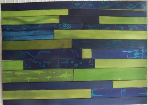 Tableau lanieres bleu vert CUIR  46cmX 32cm// 110€