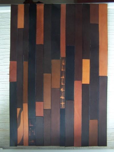 Déco murale, Tableau lanieres marron cuir 54cm X34cm//140€